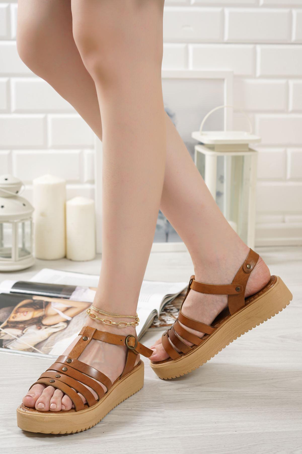 Luna Taba Hakiki Deri Kadın Sandalet