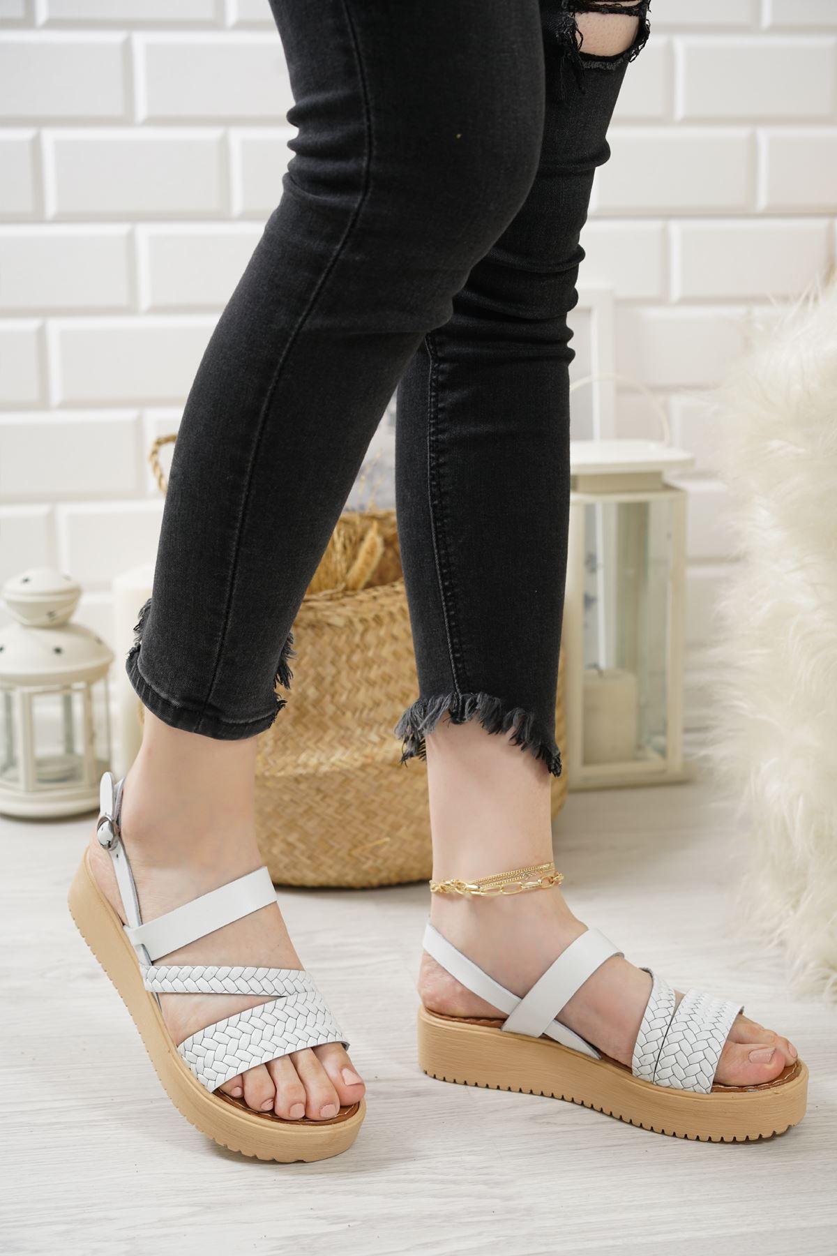 Moreno Beyaz Hakiki Deri Kadın Sandalet
