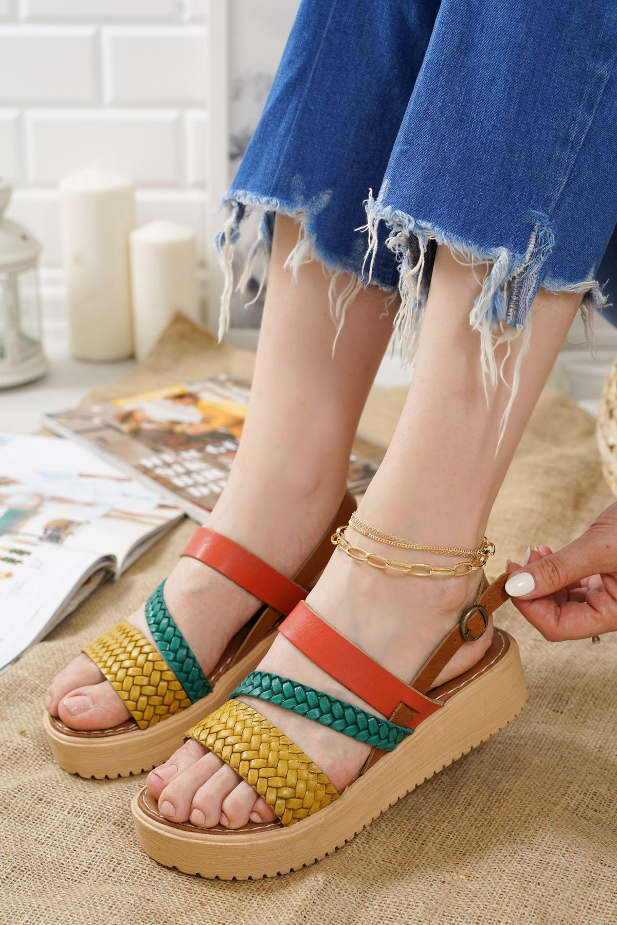 Moreno Renkli Hakiki Deri Kadın Sandalet