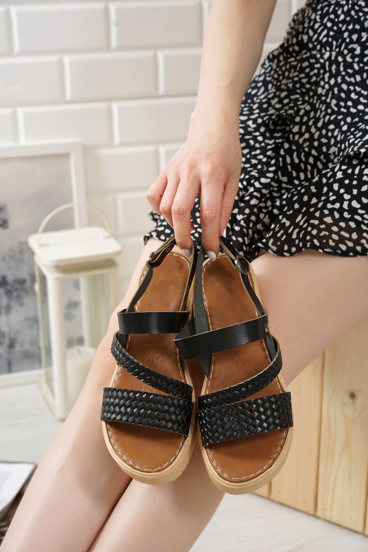 Moreno Siyah Hakiki Deri Kadın Sandalet