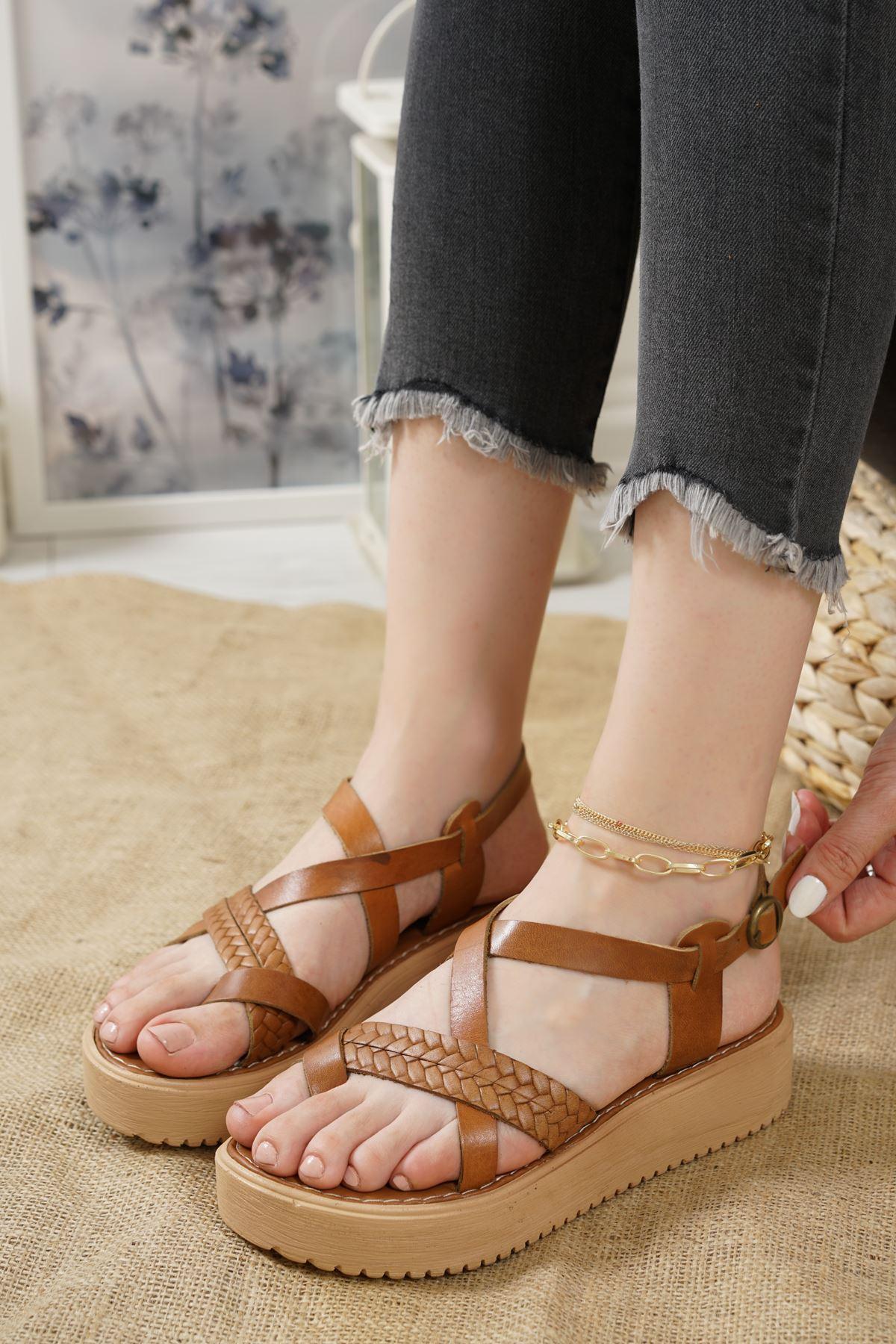 Livio Taba Hakiki Deri Kadın Sandalet