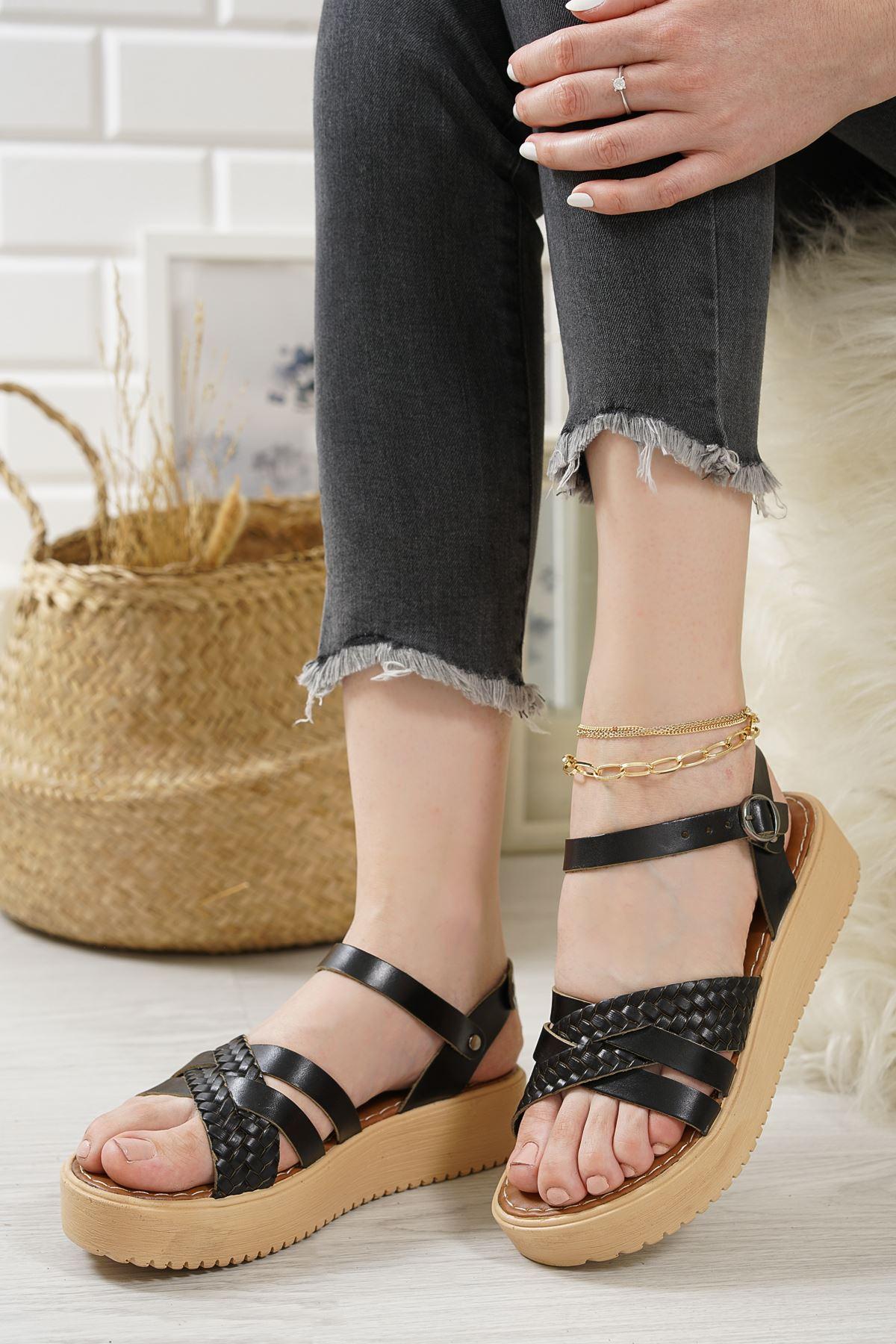 Jianna Siyah Hakiki Deri Kadın Sandalet