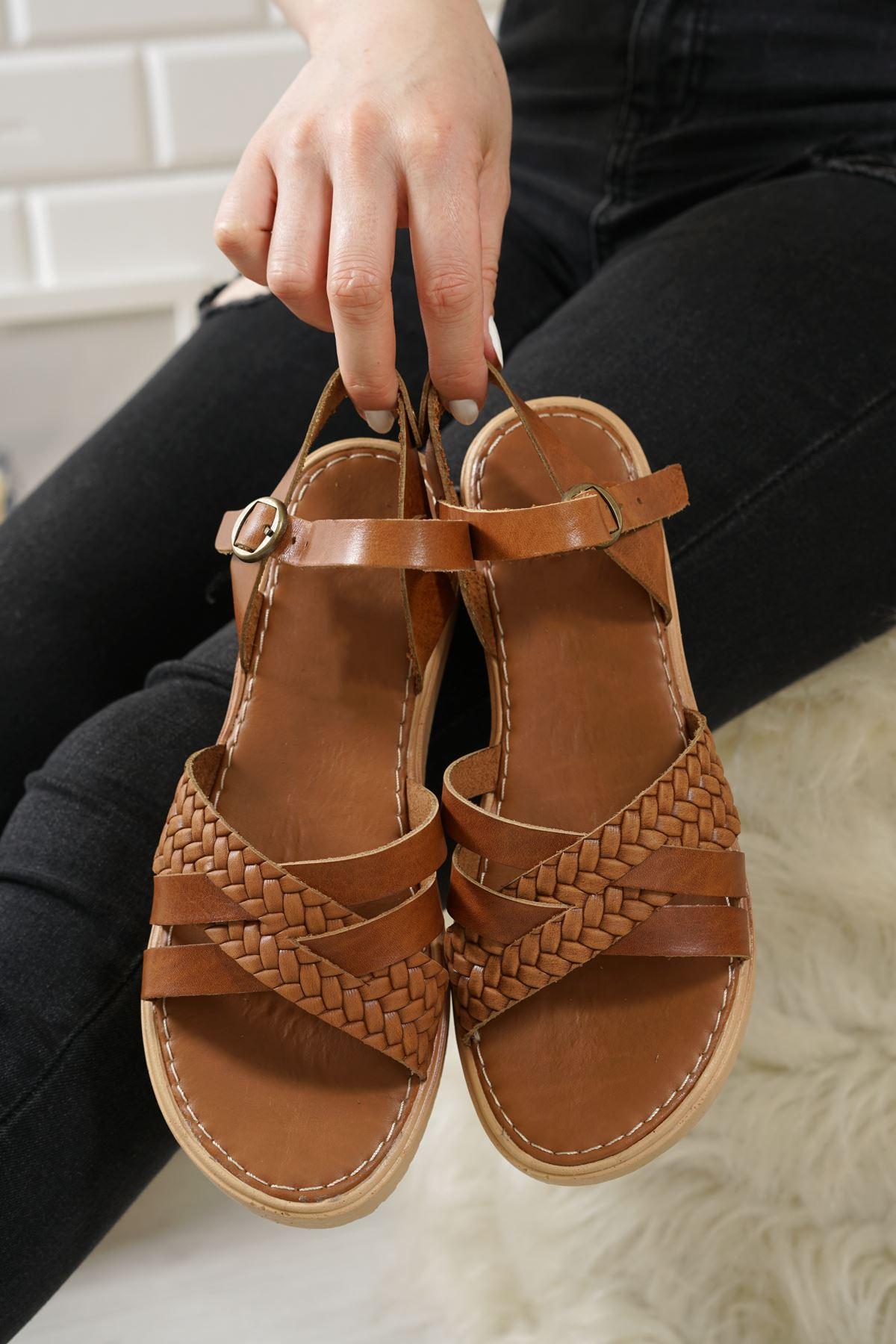 Jianna Taba Hakiki Deri Kadın Sandalet