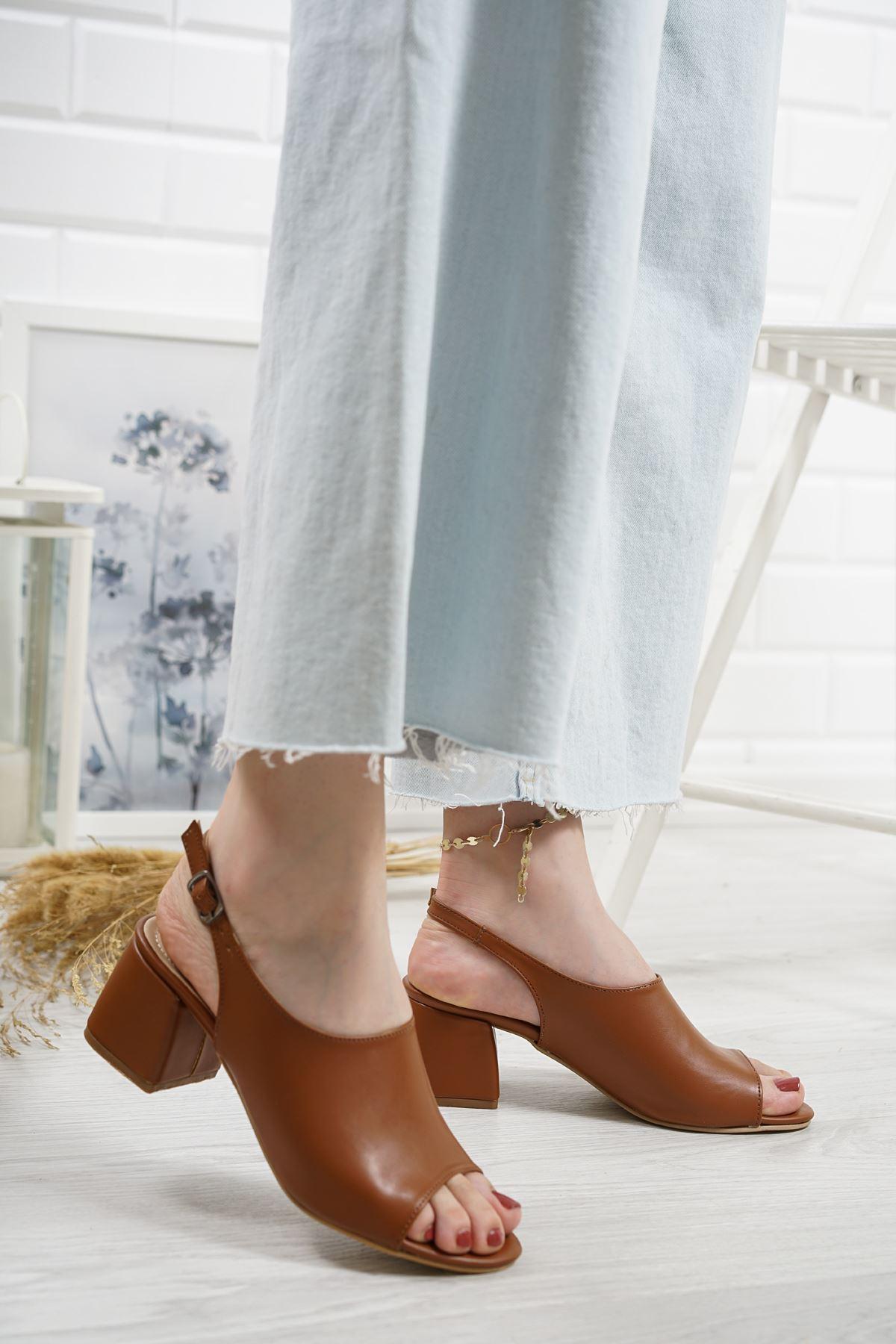 Afro Taba Mat Deri Kadın Topuklu Ayakkabı