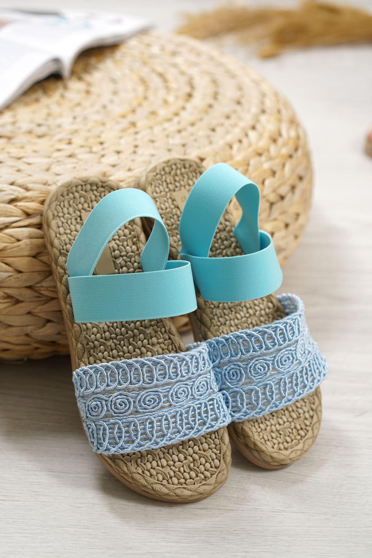 Carri Bebek Mavi Dantel Lastikli Kadın Sandalet