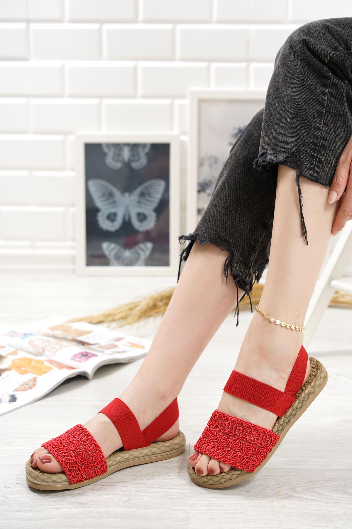 Carri Kırmızı Dantel Lastikli Kadın Sandalet