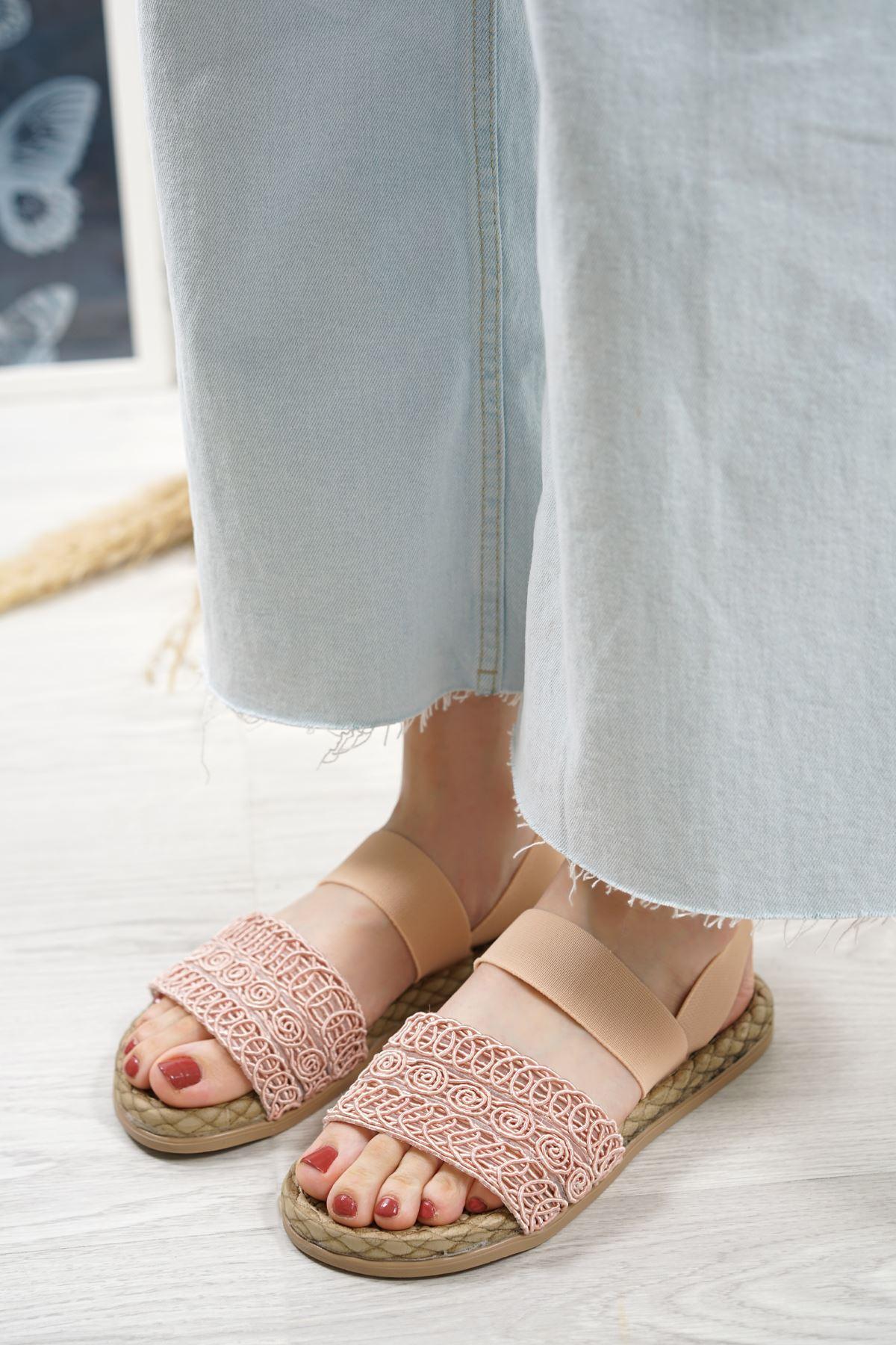Carri Pudra Dantel Lastikli Kadın Sandalet
