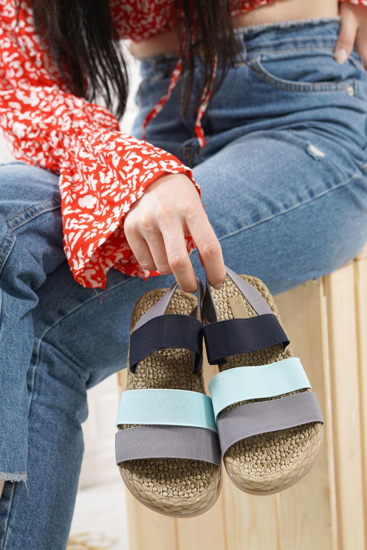 Orso Gri Yeşil Siyah Lastikli Kadın Sandalet