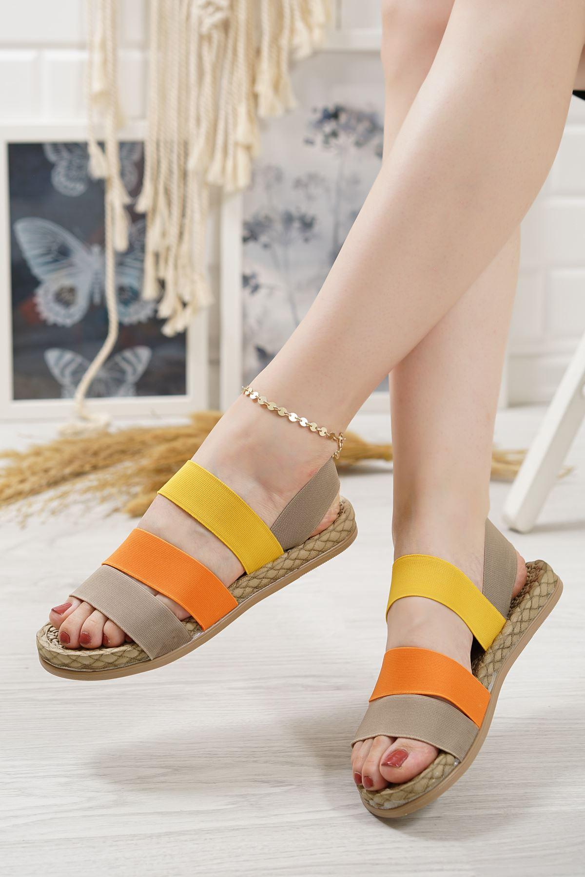 Orso Vizon Oranj Limon Lastikli Kadın Sandalet