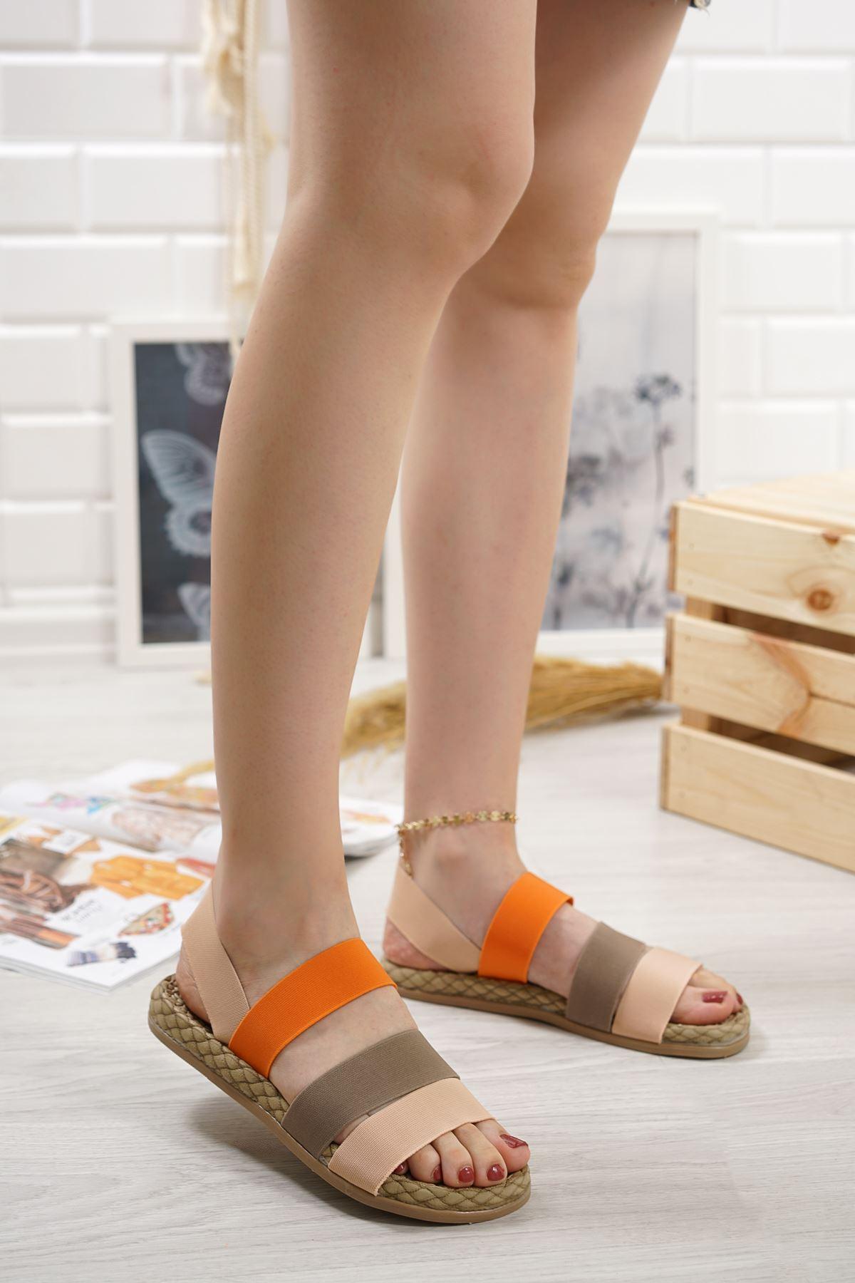 Orso Pudra Vizon Oranj Lastikli Kadın Sandalet