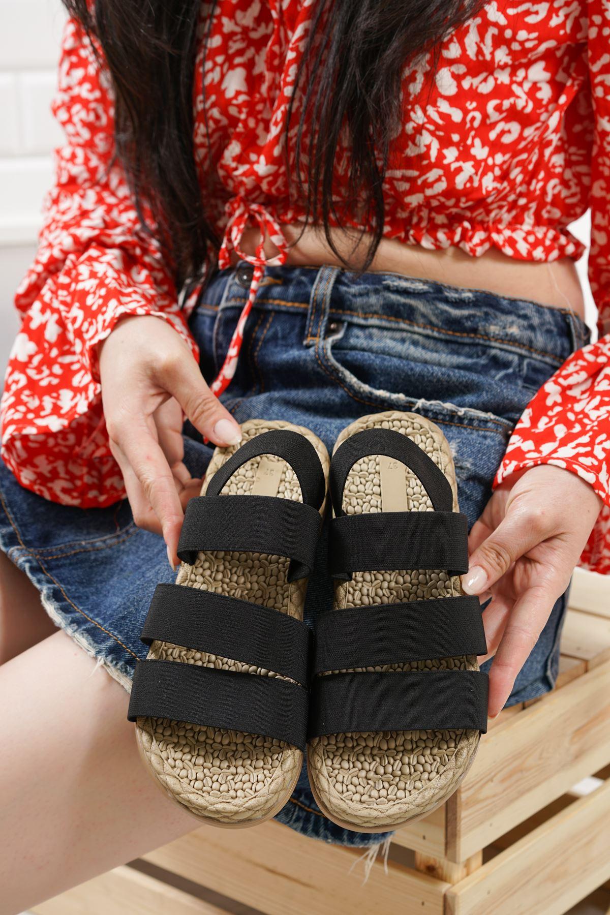 Orso Siyah Lastikli Kadın Sandalet