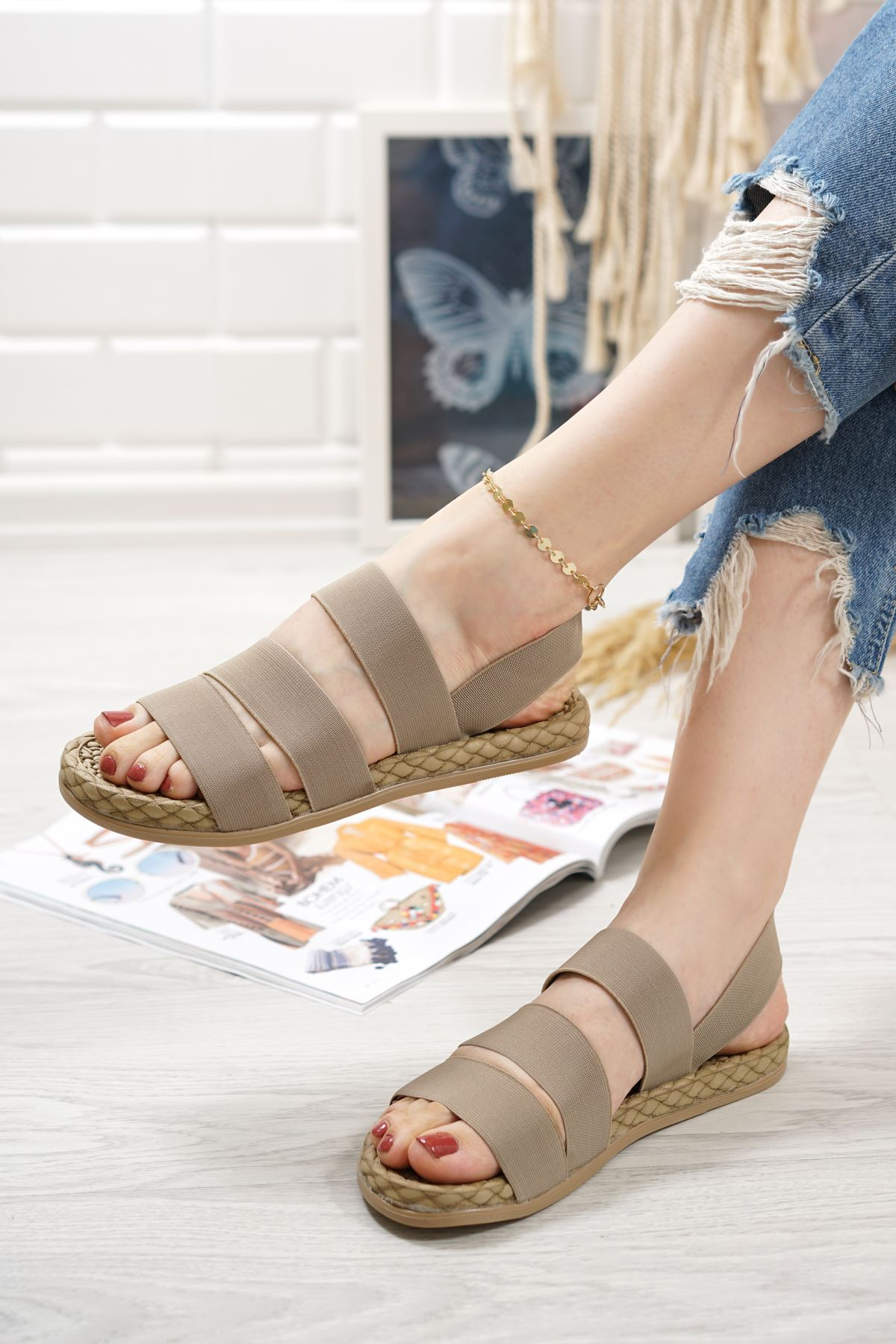 Orso Vizon Lastikli Kadın Sandalet
