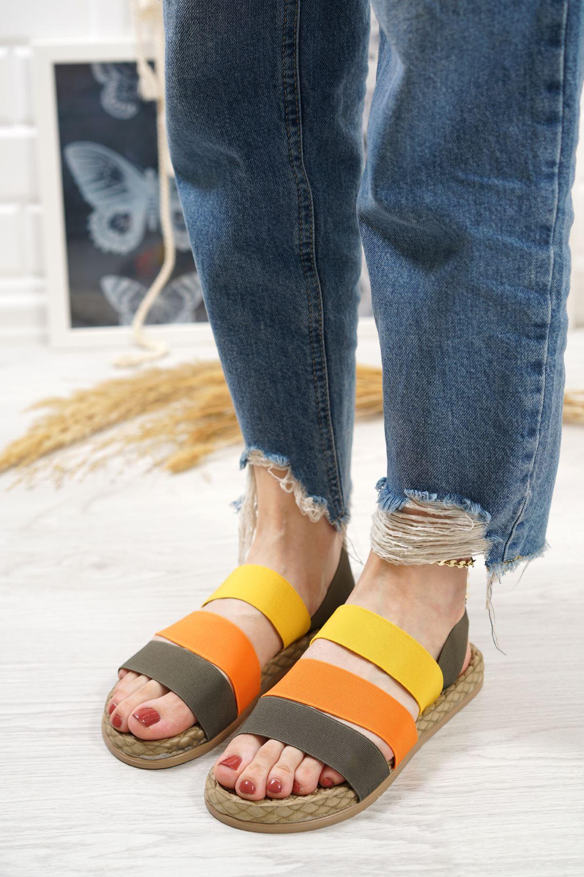Orso Yeşil Oranj Limon Lastikli Kadın Sandalet