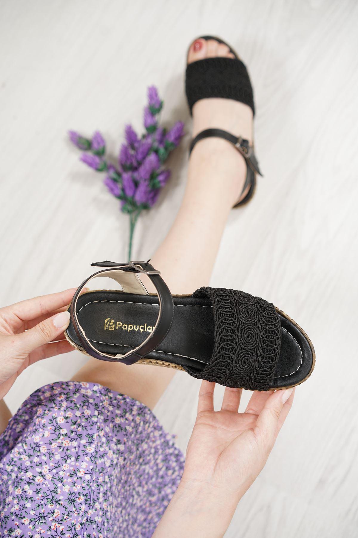 Nios Siyah Dantel Kadın Sandalet