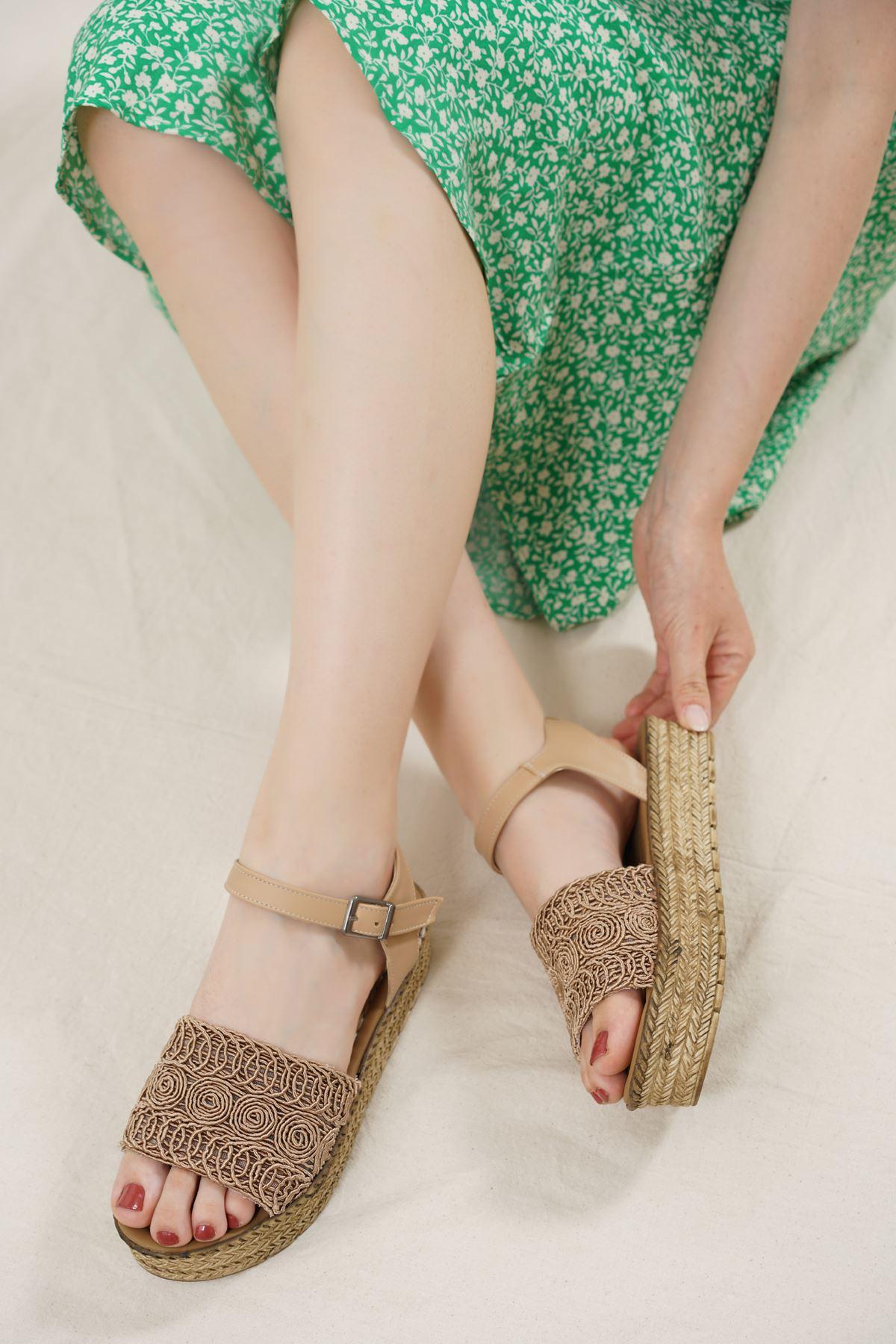 Nios Vizon Dantel Kadın Sandalet