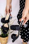 Bianka Siyah Mat Deri Kadın Topuklu Terlik